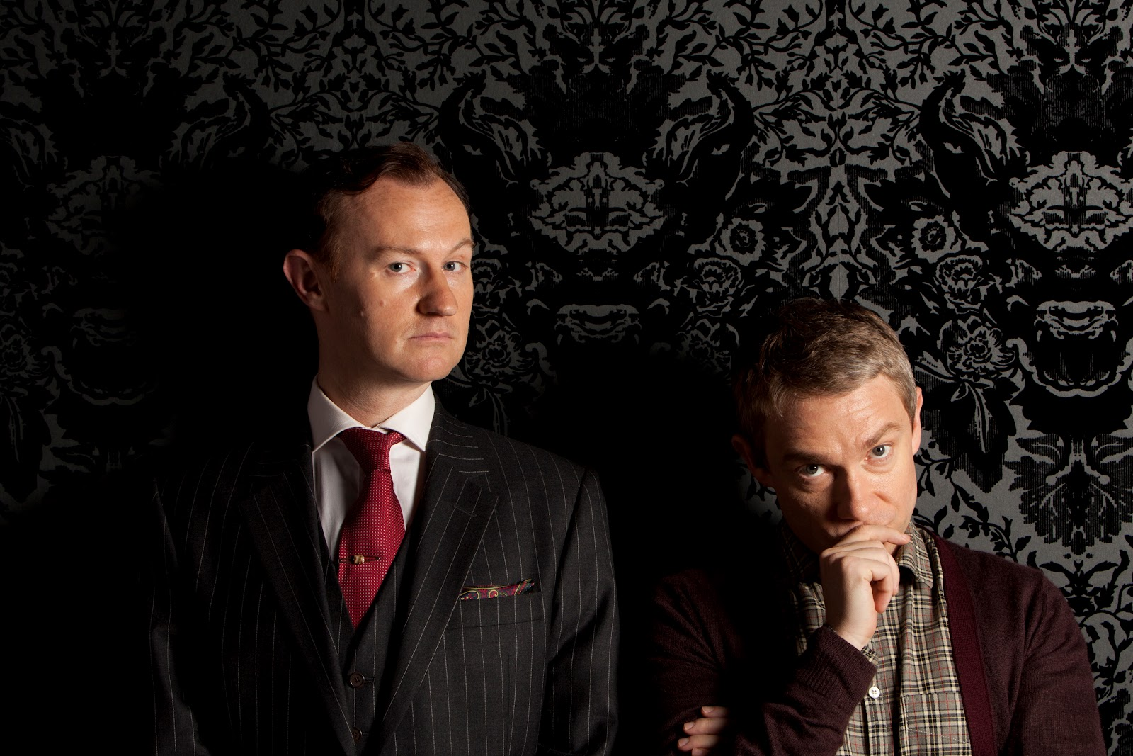 Mark Gatiss and Martin Freeman as Mycroft Holmes and John Watson