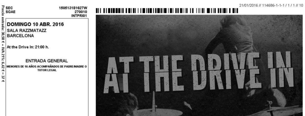 At The Drive In 2016 Tour ticket Barcelona